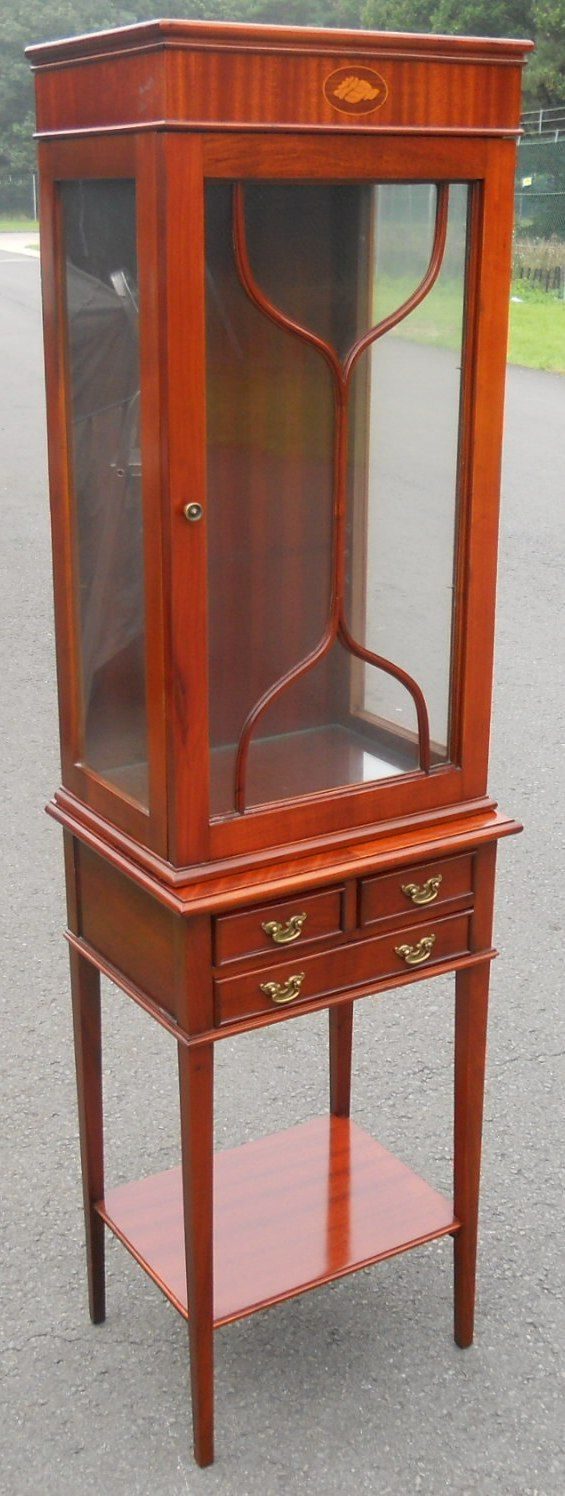 Small Mahogany China Display Cabinet On Stand